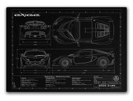 Orthographic Drawing of YOUR car, Laser engraved on Aluminium