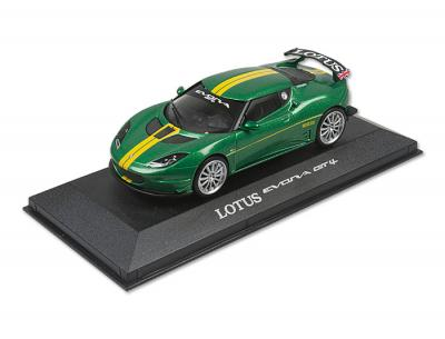 1:43 Model of Lotus Evora GT4 in green Lotus Sport livery